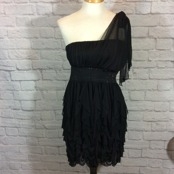 Roberta Bridal Dresses Roberta Black Grecian Ruffled One Shoulder